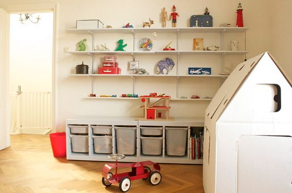 shelves and drawers or cubbies for playroom